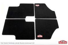 Paddy Hopkirk luxury Black Floor Mat set for Minis. As part of the Paddy Hopkirk Mini collection.