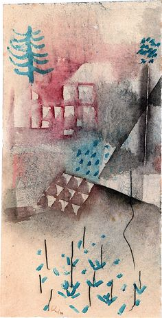 Paul Klee 'Trees in the Garden' 1929 Watercolor and crayon on paper on cardboard 12.8 x 6.5""