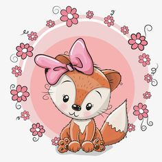 Illustration about Greeting card cute cartoon fox with flowers. Illustration of drawing, luck, cartoons - 70101243 Illustration Mignonne, Cute Illustration, Clip Art, Cute Images, Cute Pictures, Cartoon Mignon, Fox Stock, Art Mignon, Fox Drawing