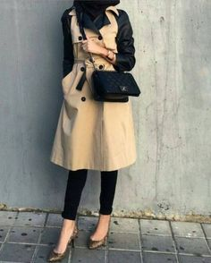 trench coat hijab look, Hijab chic from the street http://www.justtrendygirls.com/hijab-chic-from-the-street/
