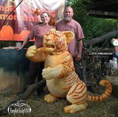 Tiger - pumpkin sculpture, Andy and Sue