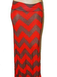 76e14608e565e Brown and Red Chevron Plus Size Maxiskirt Plus Fashion