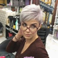 Nothing but Pixies!- Nothing but Pixies! Ermia Women Ermia Nothing but Pixies! Pixie Haircut For Thick Hair, Funky Short Hair, Super Short Hair, Short Grey Hair, Short Pixie Haircuts, Cute Hairstyles For Short Hair, Short Hair Styles, Pixie Hairstyles, Short Asymetrical Haircuts