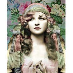 Vintage gypsy goddess photomontage digital art print pink mint blue wall art on Etsy, $24.00