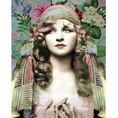 Vintage gypsy goddess photomontage digital art print pink mint blue wall art on Etsy, $24.00