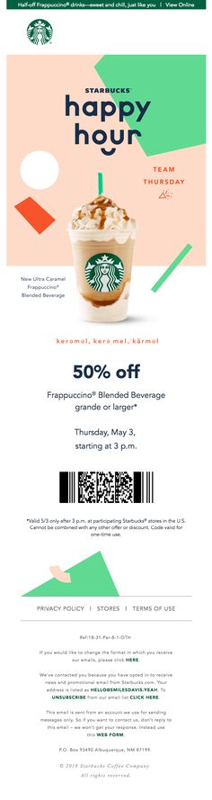 See you at Starbucks® Happy Hour - Really Good Emails