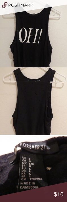 F21 Black Crop Tank The holes were included when I bought this Size:L  No swaps and price is firm Forever 21 Tops Crop Tops
