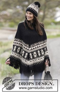 "Southwest / DROPS 165-20 - Knitted DROPS poncho with graphic pattern, fringes, high collar in rib, worked top down in ""Nepal"". Size: S - XXXL."