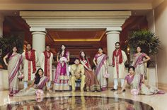 Mix of sitting and standing. Great way to arrange an uneven number of bridesmaids and groomsmen. Indian Bridal Party, Squad Photos, Bridesmaids And Groomsmen, Wedding Photos, Wedding Stuff, Wedding Inspiration, Asian, Photography, Clothes