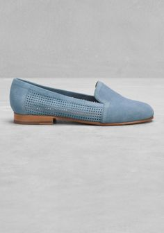 Perforated suede slippers