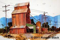 "Russell Black ""Granary"" x - Watercolor Watercolour Tutorials, Watercolor Artists, Watercolor Paintings, Keys Art, Urban Sketching, Love Art, Contemporary Art, Upper Peninsula, Homesteads"