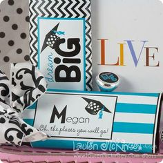 """These are some great ideas for easy graduation gifts! For small candy, use Avery 1"""" round labels. Use full-sheet or shipping labels for candy bars. Personalize labels with free customizable designs at avery.com/graduation."""