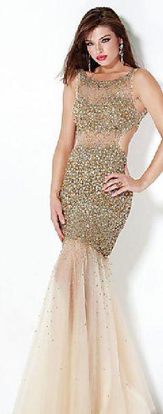 Embellished Tulle Natural Champagne Mermaid U-shape Evening Dresses Sale lkxdresses15648xdf #longdress #promdress