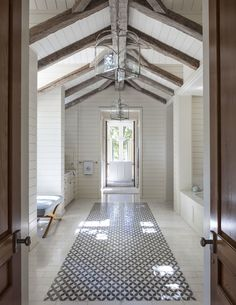 White shiplap bathroom with exposed rustic timber epbeams - Collins Interiors