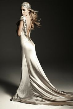 Stunning satin, lacy exposed back and elegant crystal detail