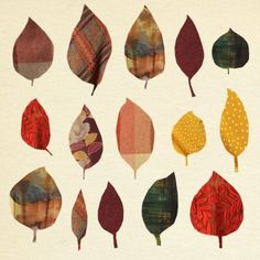 wall art idea: cut leaf shapes out of scrap fabric