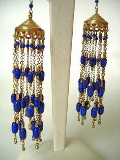taj tassel dazzlers dripping with lapis lazuli and 14k gold fill. adove fine jewelry