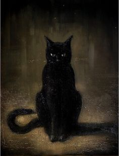 black cat painting. I want this painting! It's a perfect look of Cody!