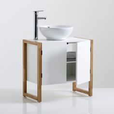 Hiba Pine and Metal Bathroom Cabinet LA REDOUTE INTERIEURS Bring industrial chic to the smallest room in the house with this contemporary Hiba pine and metal bathroom cabinet. Bathroom Vanity Units, Wood Bathroom, Bathroom Furniture, Bathroom Storage, Small Bathroom, Cantilever Chair, Bad Styling, Sink Units, Scandi Style