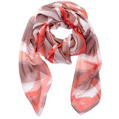 Furla Silk Orange Urban Maxi Foulard (180 BAM) ❤ liked on Polyvore featuring accessories, scarves, orange, silk shawl, pure silk scarves, orange scarves, orange shawl and furla