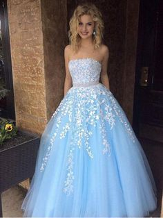 Cheap A-line Sky Blue Lace Appliqued Tulle Long Strapless Prom Dresses Prom Dresses Cheap, Prom Dresses, Prom Dresses Lace, Sleeveless Prom Dresses, Blue Prom Dresses Prom Dresses 2020 Best Formal Dresses, Pretty Prom Dresses, Strapless Prom Dresses, A Line Prom Dresses, Cheap Prom Dresses, Ball Dresses, Homecoming Dresses, Elegant Dresses, Evening Dresses