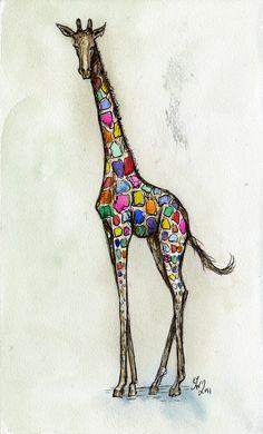 Feeling a little colourful - Giraffe Art Print