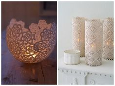 Oh Lovely Day: {It's in the Details} Perfect Combinations of Vintage + DIY Lace Bowls and Pillar Candles Holders