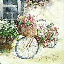 4 x Single Luxury Paper Napkins for Decoupage and Craft Vintage Flower Bike Decoupage Vintage, Papel Vintage, Paper Napkins For Decoupage, Vintage Cards, Vintage Paper, Decoupage Foto, Bicycle Painting, Bicycle Art, Bicycle Design