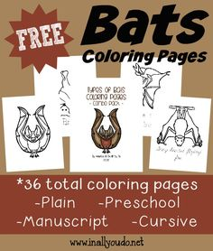 Studying Bats this year? Grab these fun and FREE Bats Coloring Pages & Emergent Readers to help kids identify some bats while practicing their reading!! :: www.inallyoudo.net