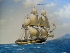 View paintings for sale by Derek George Montague Gardner RSMA, British maritime artist Bateau Pirate, Ship Paintings, Man Of War, Wooden Ship, Nautical Art, Armada, Ship Art, Model Ships, Tall Ships