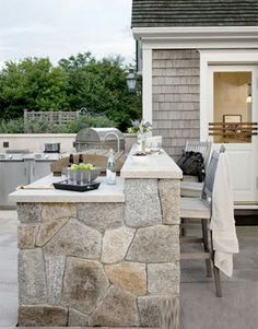 Outdoor beach patio cookout, Coastal Style