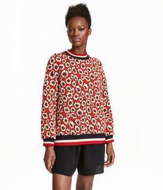 Jacquardmönstrad sweatshirt | Röd | Dam | H&M SE