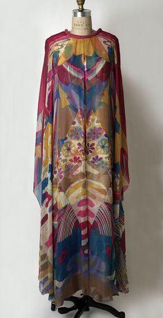 Hanae Mori silk evening dress, c.1968
