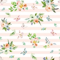Spring Time Bunny Florals Pale Peach Stripes fabric by shopcabin on Spoonflower - custom fabric Cute Wallpaper Backgrounds, Flower Backgrounds, Cute Wallpapers, Floral Print Fabric, Floral Prints, Home Decor Shelves, Hello Spring, Background Patterns, Fabric Patterns
