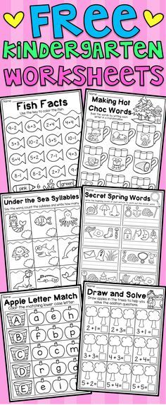 Free kindergarten math and language arts worksheets. This free pack includes six math and literacy worksheets for kindergarten. The worksheets relate to CVC words, addition, subtraction, uppercase letters, syllables and spelling. I hope you enjoy! Language Arts Worksheets, Free Kindergarten Worksheets, Kindergarten Lesson Plans, Syllables Kindergarten, Subtraction Kindergarten, Addition And Subtraction Worksheets, Kindergarten Activities, Kindergarten Addition, Free Activities