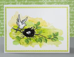 Card for Mixed Media Card Challenge, March: Hint of Spring  #cardmaking #watercolours #stamping