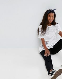ASOS | ASOS T-Shirt in Oversized Fit with Cutabout Lace