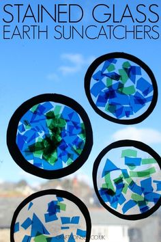 These Earth suncatchers are an easy craft for kids thats perfect for Earth Hour or Earth Day celebrations and theyre great for fine motor skills too. These Earth suncatchers are a Earth Craft, Earth Day Crafts, Planet Crafts, Nature Crafts, Earth Day Activities, Art Activities, Recycling Activities For Kids, Space Activities For Kids, Space Theme For Toddlers