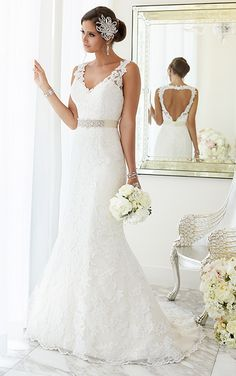Wedding Dresses - Lace Fit-and-Flare Wedding Dress from Essense of Australia - Style D1695