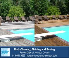 http://kansascity.renewcrewclean.com – Wooden decks around swimming pools need good care to avoid splinters and foot injuries to swimmers. Our deck cleaning process works great around pools and hot tubs because it contains no harsh chemicals. We serve Kansas City plus Johnson County KS including Overland Park, Olathe, Shawnee, Lenexa and Leawood. Free estimates.