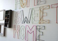 DIY yarn letters for wall display String Art Diy, String Crafts, Yarn Crafts, Nail String, Yarn Wall Art, 3d Wall Art, Art Yarn, Art Mural 3d, Yarn Letters