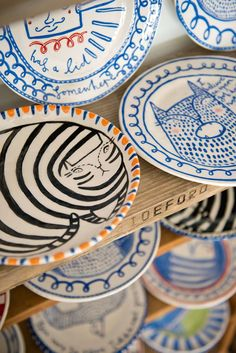 Vicky Lindo and her partner Bill Brookes produce quirky, highly decorated ceramics at their studio - The Pigeon Club Pottery - in Bideford, Devon