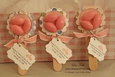 What a cute idea for a baby shower favor! Just use SU Circle Treat Cups to make them look like baby rattles!