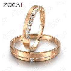 PAIR ZOCAI INFINITY 0.14 CT H / SI DIAMOND HIS AND HERS WEDDING BAND RINGS SETS ROUND CUT 18K ROSE GOLD JEWELRY