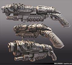 Oriental SteamPunk Shotgun, Raul Aparicio on ArtStation at https://www.artstation.com/artwork/oriental-steampunk-shotgun