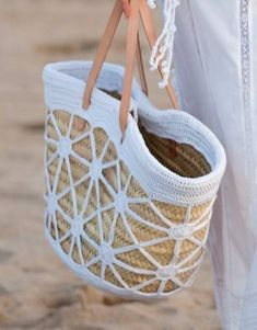 """New Cheap Bags. The location where building and construction meets style, beaded crochet is the act of using beads to decorate crocheted products. """"Crochet"""" is derived fro Crochet Tote, Crochet Handbags, Crochet Purses, Bead Crochet, Pochette Diy, Diy Sac, Straw Tote, Basket Bag, Cheap Bags"""