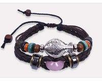Vintage Style Bracelet,Leather Bracelet,Fish Charm Bracelet,Adjustable Bracelet Girlfriend Gift