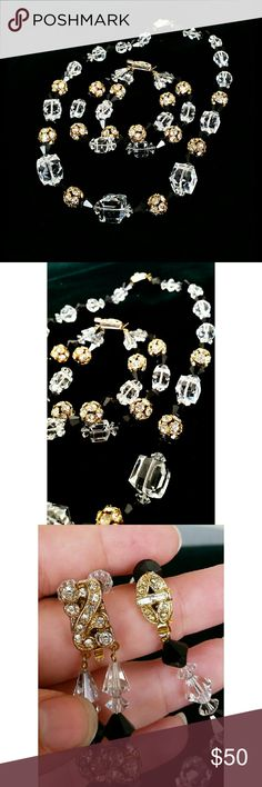 Vtg Austrian Glass Crystal Necklace Bracelet Set Up for grabs is a VERY beautiful Austrian crystal beaded necklace and bracelet set! These two pieces are some of the nicest pieces I've acquired, the quality is AMAZING! The facets are absolutely exquisite. Includes clear crystal, black crystal, and rhinestone accented sphere beads. All hardware is gold tone. Both pieces have a rhinestone clasp. Excellent condition! PERFECT FOR THE HOLIDAYS! Get it now!??? Vintage Jewelry Bracelets