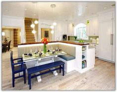 kitchen island with bench and table