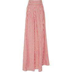 Johanna Ortiz Tequila Linen Pant ($1,100) ❤ liked on Polyvore featuring pants, stripe, high waisted trousers, high-waisted pants, red striped pants, red pants and high waist pants